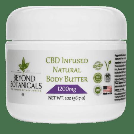 image of cbd body butter with 1200mg of hemp oil cbd