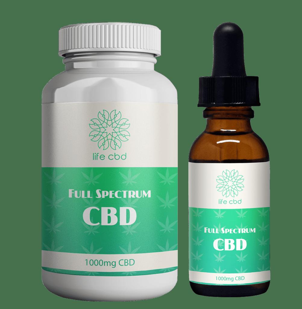 cbd private label sample image of hemp oil tincture and CBD capsules