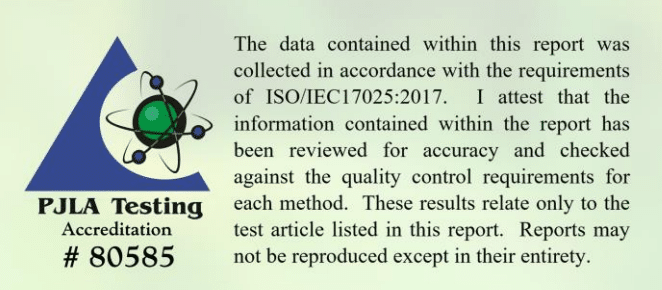 An example of an ISO 17025 certification on a certificate of analysis