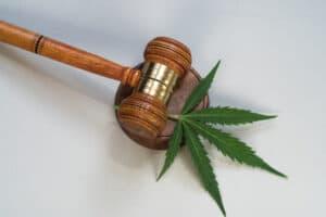 A gavel and a hemp leaf